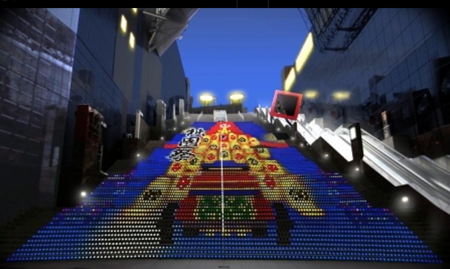 駅シリーズ①京都駅ビル大階段 グラフィカルイルミネーションPlus7月の絵柄は祇園祭だ!